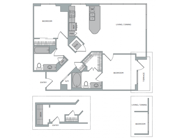 1,092 sq. ft. 2B floor plan