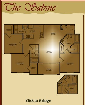 1,250 sq. ft. Sabine floor plan