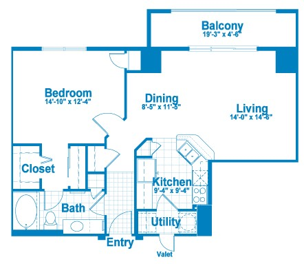 855 sq. ft. AT2.1 floor plan