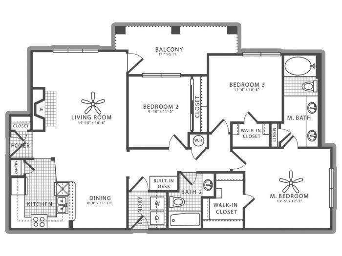 1,323 sq. ft. C1 floor plan