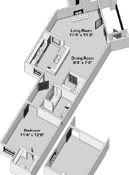 731 sq. ft. A245 floor plan