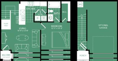 743 sq. ft. Baltusrol floor plan