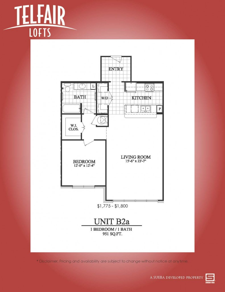 951 sq. ft. B2a floor plan