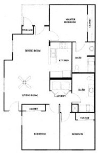 1,274 sq. ft. 60% floor plan
