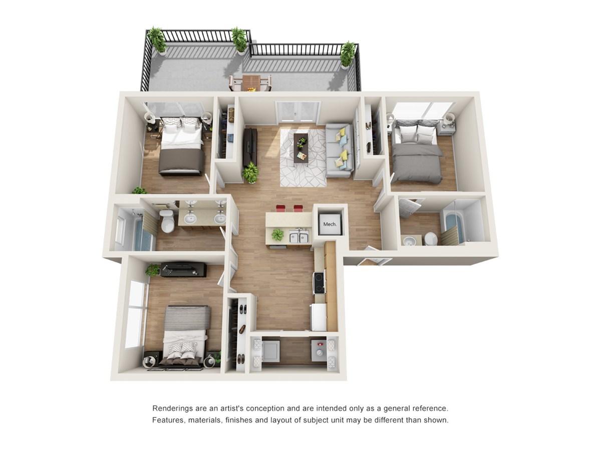 1,019 sq. ft. C4 floor plan