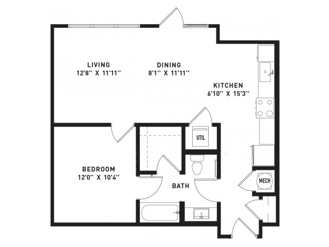 701 sq. ft. A5 floor plan