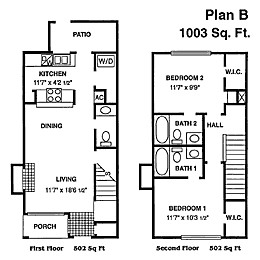 1,003 sq. ft. B floor plan