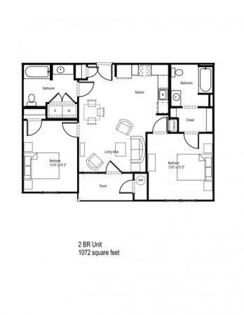 935 sq. ft. 50% floor plan
