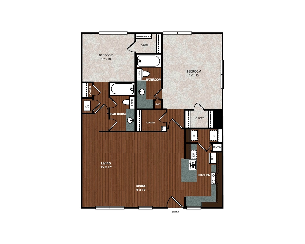 1,108 sq. ft. B3 floor plan