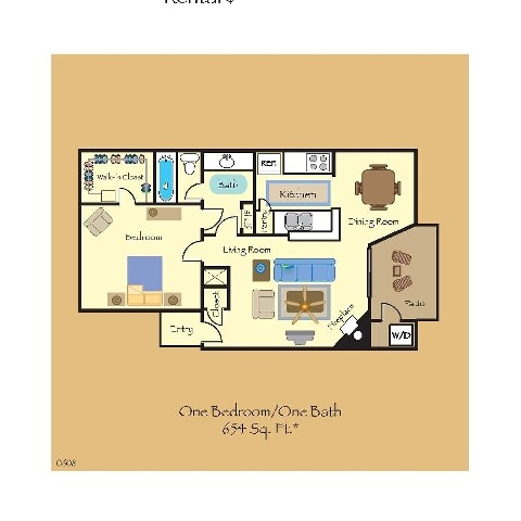 654 sq. ft. A3 floor plan