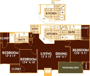1,245 sq. ft. PECAN/C1 floor plan