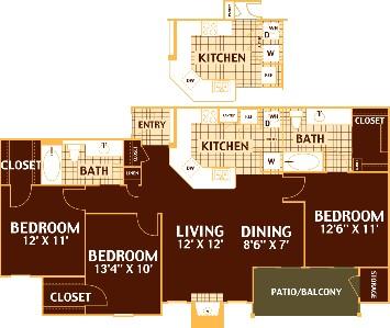 1,245 sq. ft. PECAN/C1 floor plan
