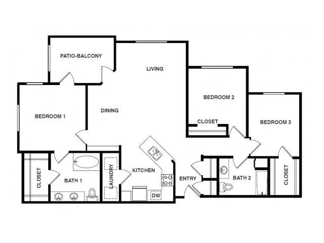 1,512 sq. ft. C1-HC floor plan