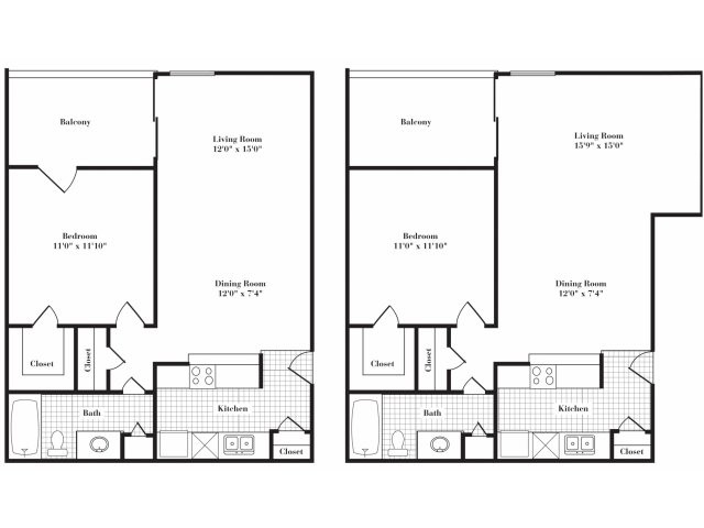 661 sq. ft. A3 II floor plan
