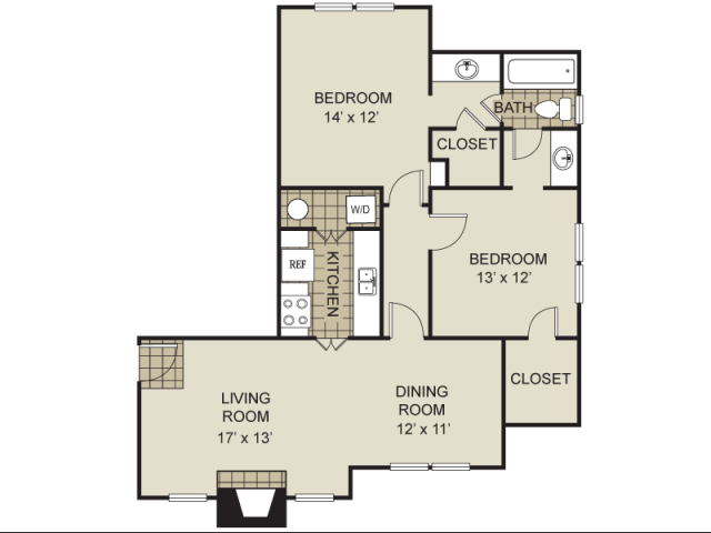 995 sq. ft. B2-C floor plan
