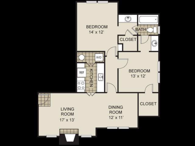 995 sq. ft. B2-C floor plan
