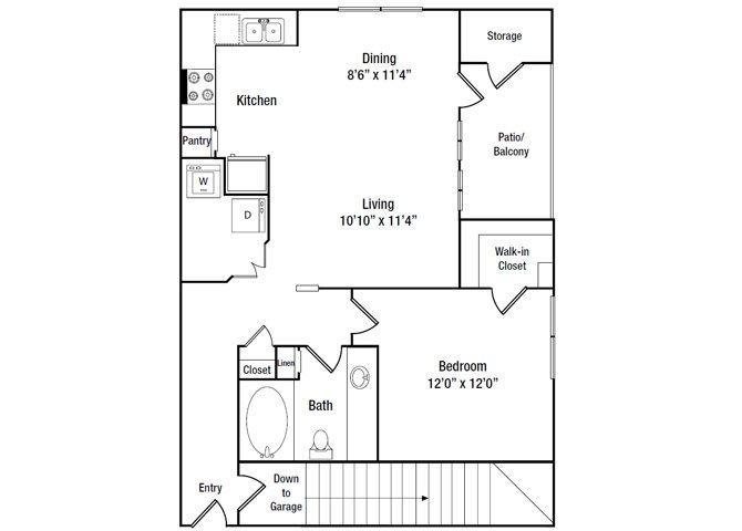 857 sq. ft. A5G floor plan