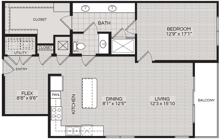 1,164 sq. ft. A3 floor plan