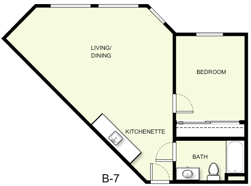 646 sq. ft. B7 floor plan