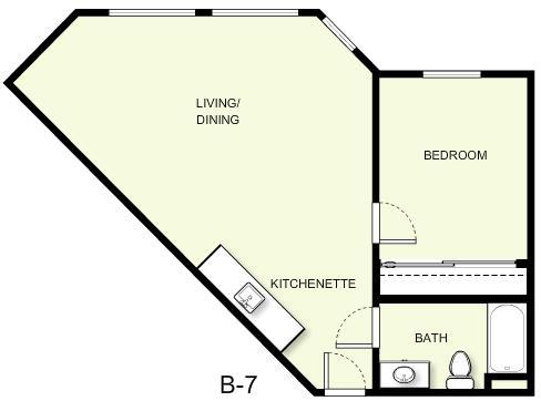 646 sq. ft. B7 floor plan
