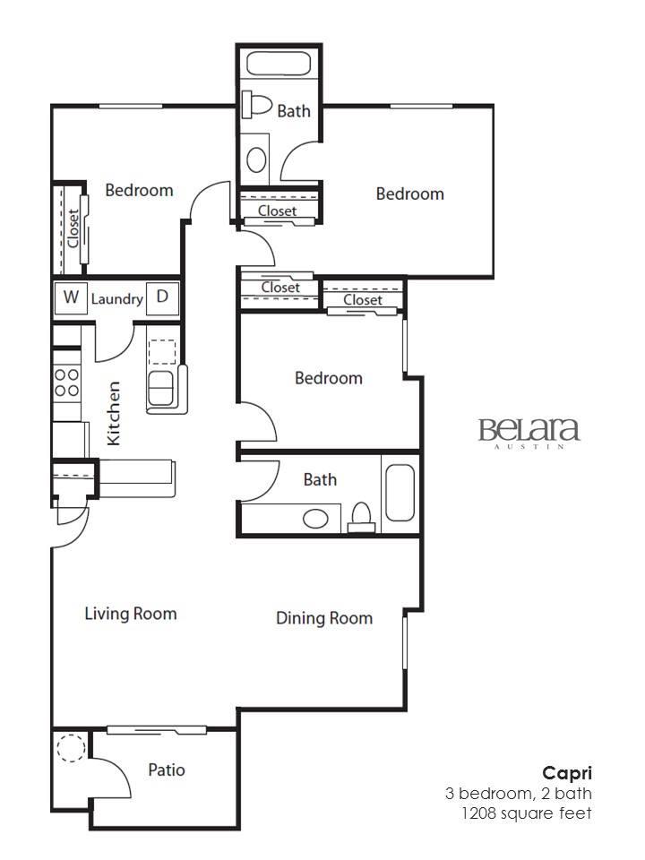 1,208 sq. ft. Capri floor plan