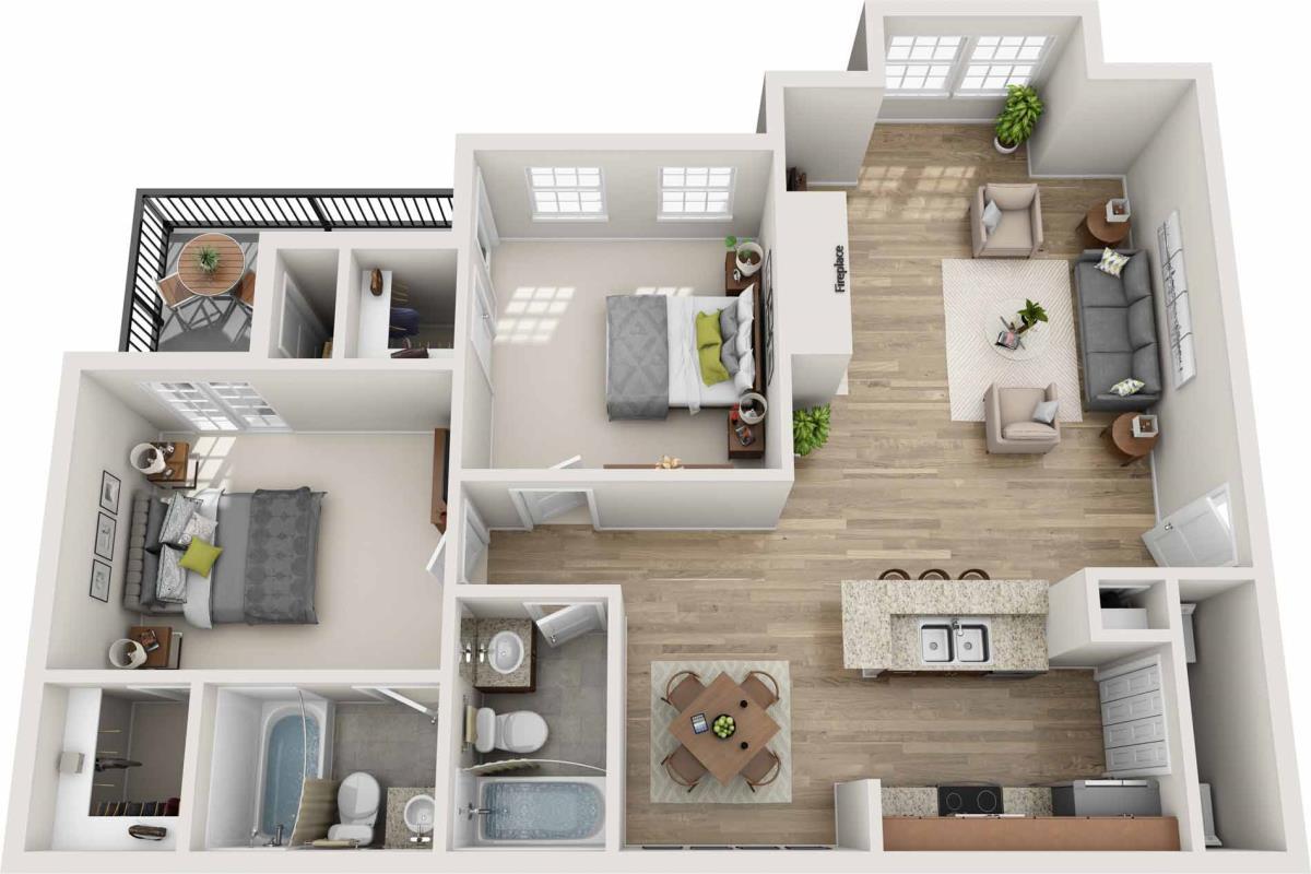 1,027 sq. ft. E floor plan