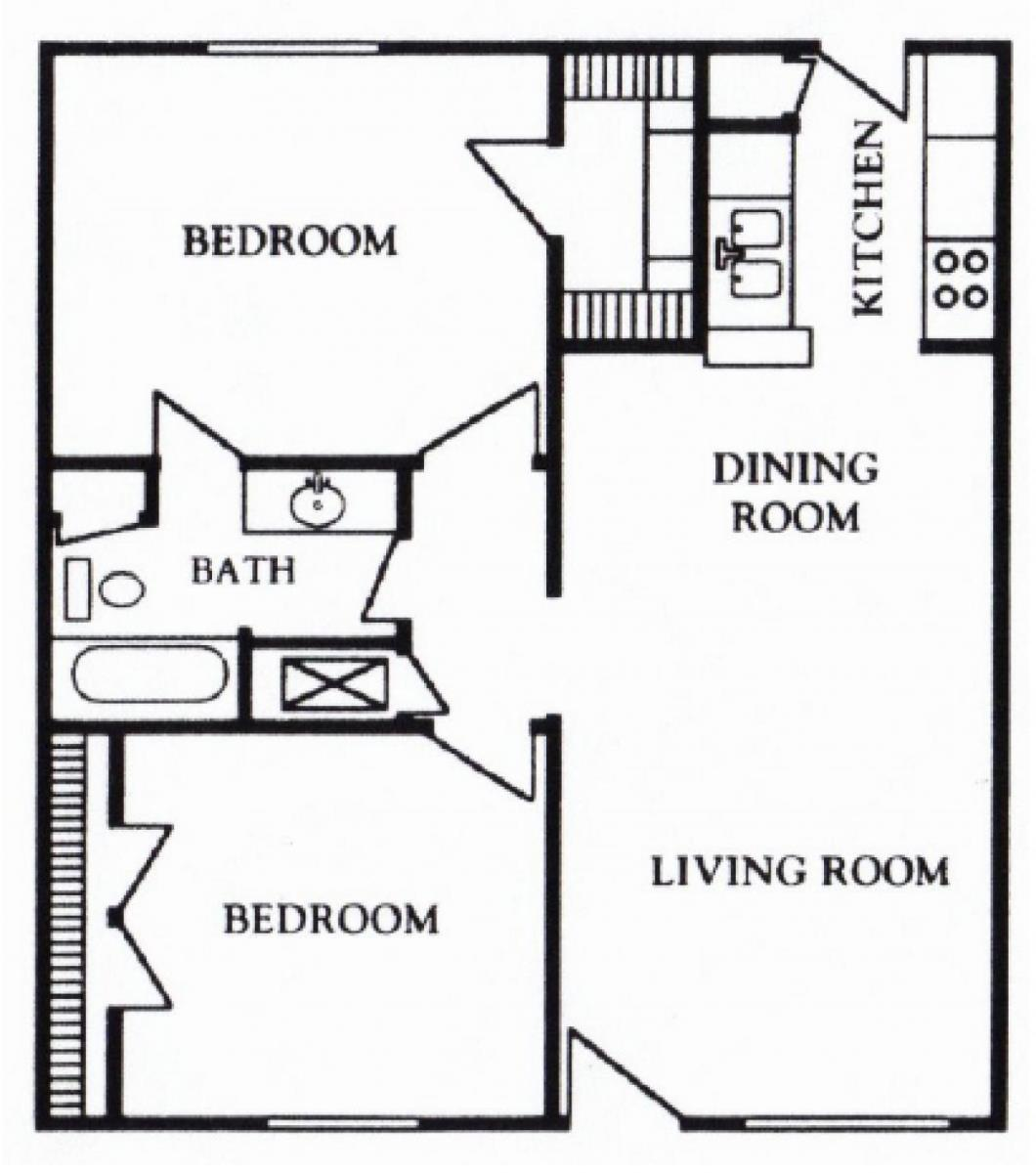 781 sq. ft. B floor plan
