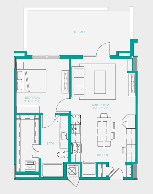 729 sq. ft. A1.12 floor plan