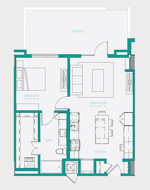 729 sq. ft. A1.12 floor plan