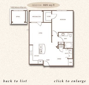 825 sq. ft. A-2 floor plan