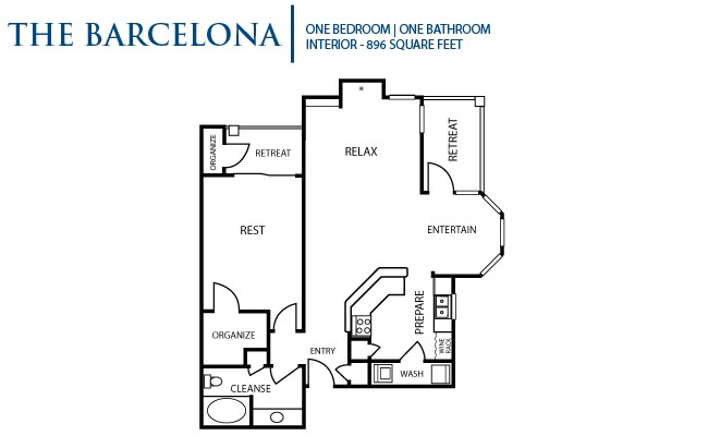896 sq. ft. Barcelona floor plan
