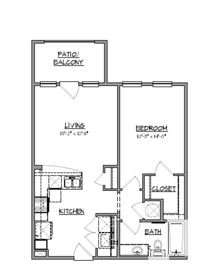 691 sq. ft. A16 floor plan