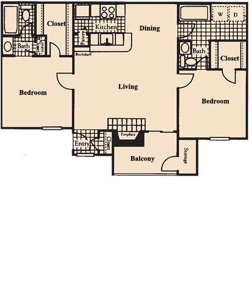 992 sq. ft. B6 floor plan