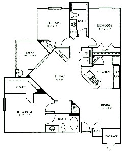 1,297 sq. ft. E1 floor plan
