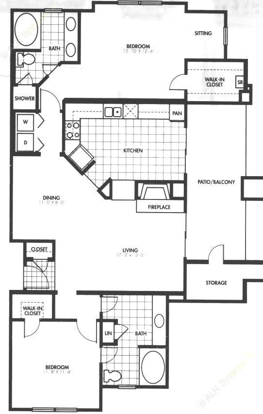1,256 sq. ft. B2 floor plan