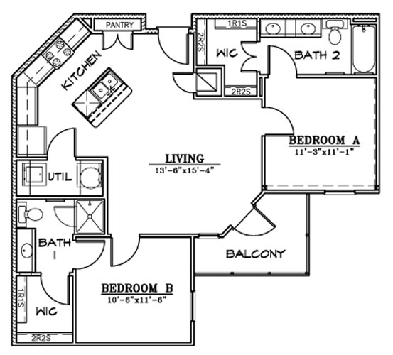 923 sq. ft. B6/HC floor plan