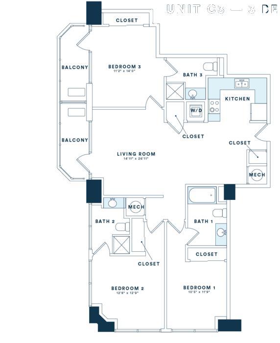 1,393 sq. ft. C3 floor plan