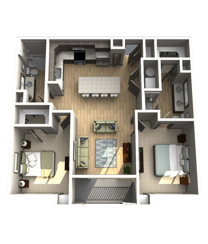 1,091 sq. ft. B2 floor plan