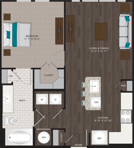 688 sq. ft. A1B floor plan