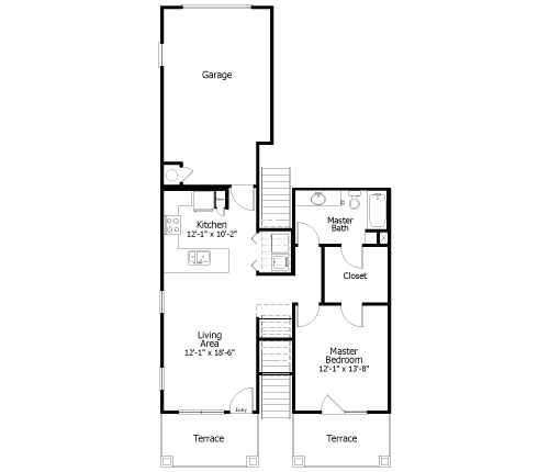 813 sq. ft. to 1,195 sq. ft. 3A6g floor plan