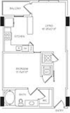 679 sq. ft. A1D floor plan
