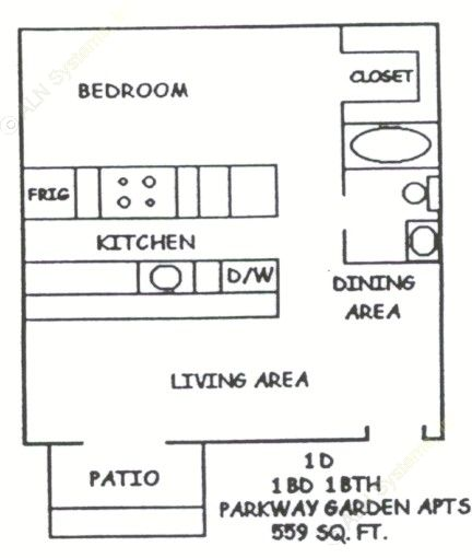 559 sq. ft. 1-1D floor plan