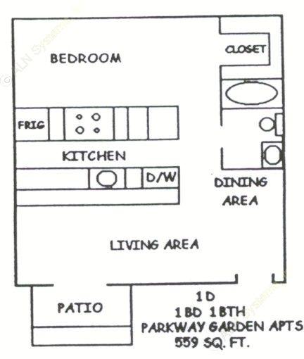 559 sq. ft. 1-1D floor plan