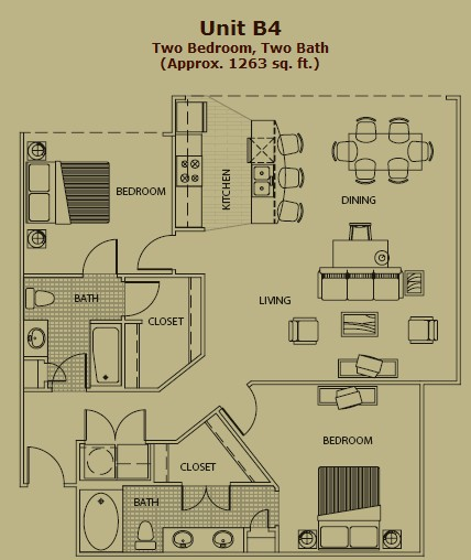 1,256 sq. ft. B4 floor plan