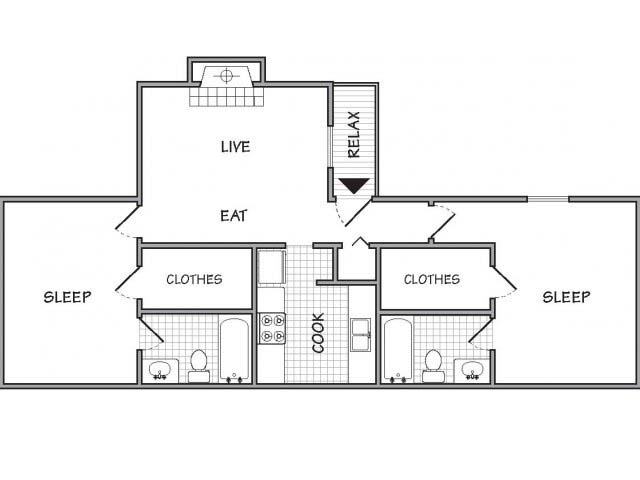725 sq. ft. floor plan