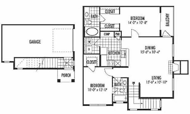 1,137 sq. ft. B1 floor plan