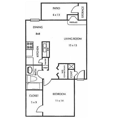 692 sq. ft. C floor plan