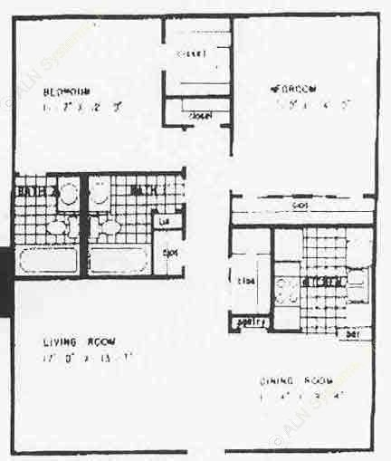 990 sq. ft. B2 floor plan