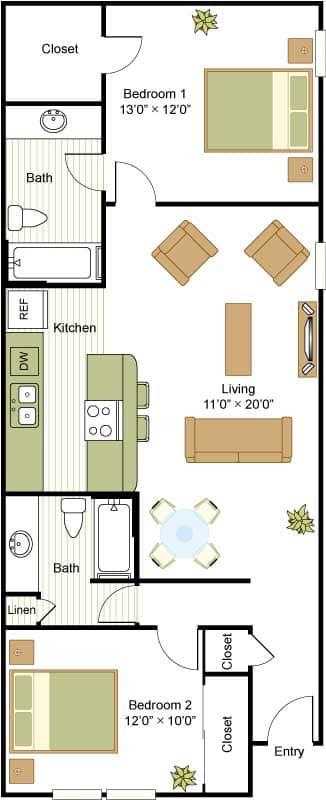 900 sq. ft. floor plan