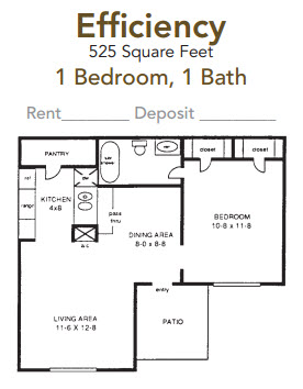 525 sq. ft. Efficiency floor plan
